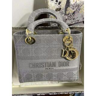 ディオール(Dior)のDIOR◆LADY D-LITE ミディアムバッグ グレー(ショルダーバッグ)