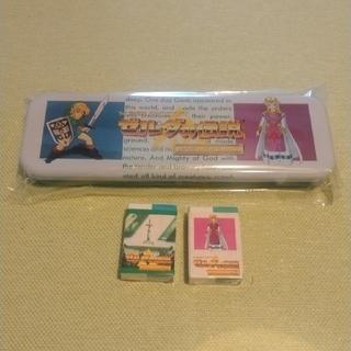 任天堂 - ゼルダの伝説神々のトライフォース 缶ペンケースと消しゴム2個セット