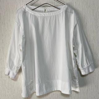 MUJI (無印良品) - 無印良品☆MUJI☆オーガニックコットン洗いざらし リブ付き五分袖ブラウス