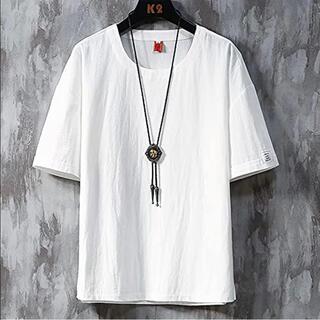 tシャツメンズ半袖 夏服 メンズ 綿麻ビッグt ゆったり カジュアル  ホワイト