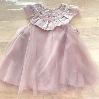 しまむら - 新品 チュール ドレス バースデーフォト くすみピンク チュチュ ワンピース