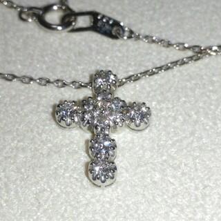 STAR JEWELRY - スタージュエリー K18 WG フラワー クロス ダイヤ0.23ct ネックレス