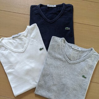 LACOSTE - LACOSTE メンズ V首Tシャツ【3枚セット】