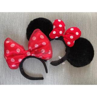 Disney - ディズニー ミニー リボン カチューシャ 赤 ドット リボン
