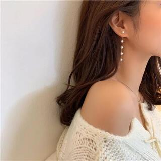 ZARA - 【新品】パールドロップチェーンピアス 韓国ファッション