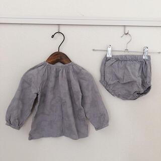 韓国子供服 グレー ブラウス ブルマ セットアップ 80