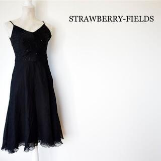 ストロベリーフィールズ(STRAWBERRY-FIELDS)のSTRAWBERRY-FIELDS シルク100% キャミソールワンピース(ミディアムドレス)