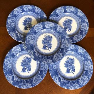 ウェッジウッド(WEDGWOOD)の【美品】ウェッジウッド★ビンテージブルー★デザート皿 3枚(食器)