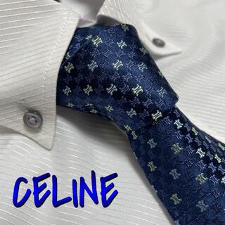 セリーヌ(celine)のセリーヌ ネクタイ【未使用に近い】光沢 厚手 ブランドロゴ総柄 ネイビー(ネクタイ)