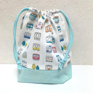 ハンドメイド 電車柄 コップ袋 給食袋 乗り物 入園グッズ 男の子 通園通学(外出用品)