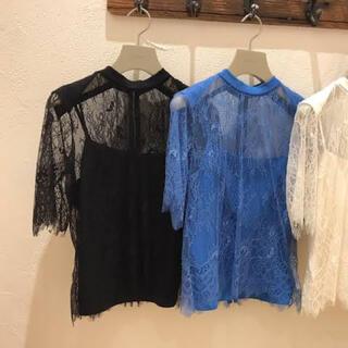 スナイデル(snidel)のSNIDEL 黒レーストップス(Tシャツ(半袖/袖なし))