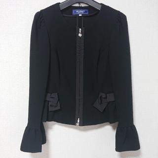 エムズグレイシー(M'S GRACY)のM'S GRACY ダブルジッパー ブラック ジャケット(ノーカラージャケット)