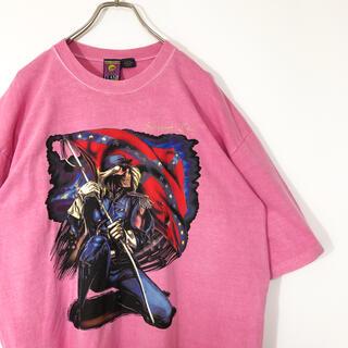 90s カナダ製 プリント Tシャツ 半袖 スカル 骸骨 アメリカ古着