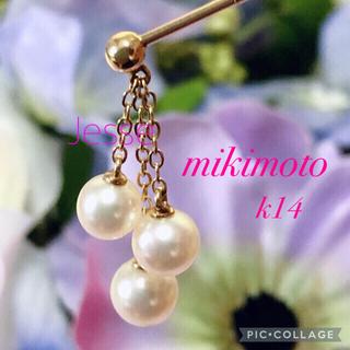 MIKIMOTO - ミキモトブローチ🌸ピンブローチ k14×パールが揺れるデザイン✨
