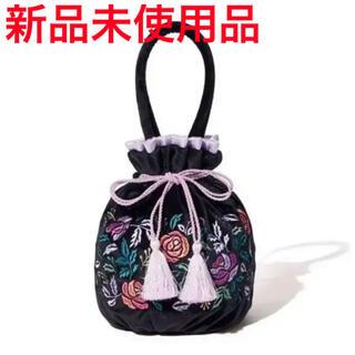 ANNA SUI - 新品未使用 アナスイ×フランフラン巾着バッグ 花柄 刺繍 ANNA SUI