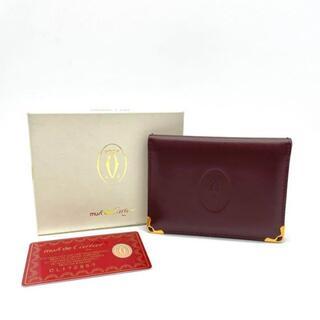 カルティエ(Cartier)の【美品】カルティエ 二つ折りカードケース マストライン ボルドー Q1(名刺入れ/定期入れ)