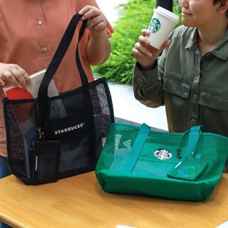 Starbucks Coffee - 【非売品】スタバ 黒メッシュトートバッグ