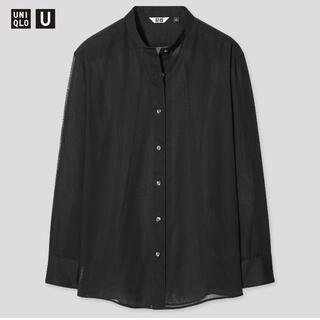 UNIQLO - UNIQLO シアーバンドカラーシャツ(長袖)