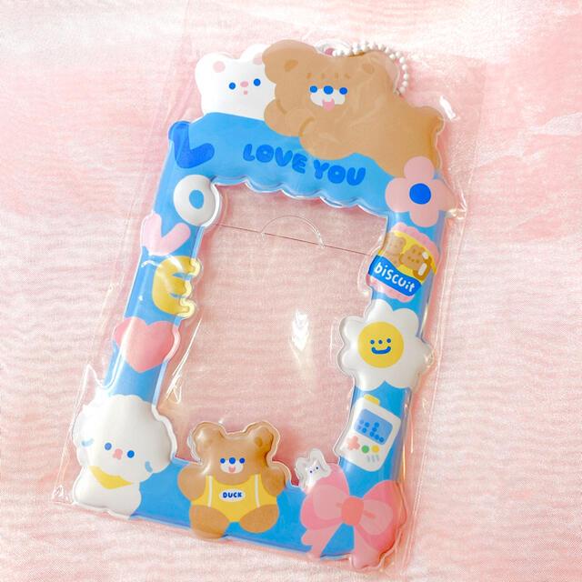 トレカケース 韓国 カードケース パスケース ブルー×くま レディースのファッション小物(パスケース/IDカードホルダー)の商品写真