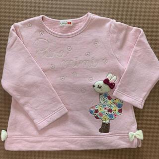 ニットプランナー(KP)のkp トレーナー 花柄 ワンピース アップリケ ミミちゃん  裏毛 100(Tシャツ/カットソー)