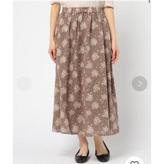 サマンサモスモス(SM2)のサマンサモスモス 花柄 ロングスカート フレアスカート 茶色 モカ色 大人可愛い(ロングスカート)