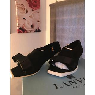 ランバン(LANVIN)のLANVIN ランバン フラットシューズ イタリア製 ブラック 24.5cm(サンダル)