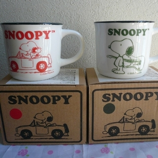 SNOOPY - スヌーピー マグカップ 赤 緑 2個セット
