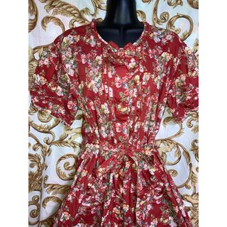 カネコイサオ(KANEKO ISAO)のレア MIYUKI ロング ロココ ワンピース スカート 赤 レッド フラワー(ロングスカート)