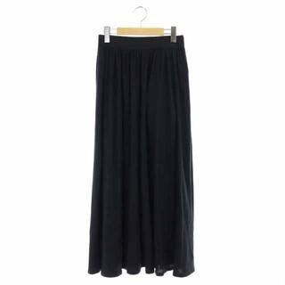 イエナスローブ(IENA SLOBE)のイエナ スローブ 19SS メンモダールロングスカート フレア ギャザー 黒(ロングスカート)