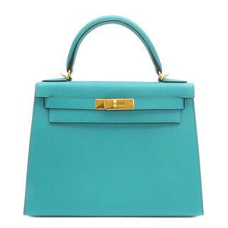 エルメス(Hermes)のエルメス  2WAYバッグ  ケリー28 外縫い  X刻印 ブルー(ハンドバッグ)