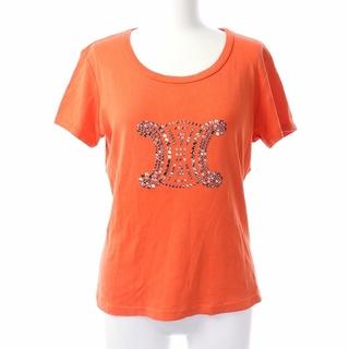 セリーヌ(celine)のセリーヌ Tシャツ カットソー 半袖 ビジュー クルーネック L オレンジ(Tシャツ(半袖/袖なし))
