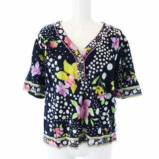 LEONARD - レオナール ファッション Tシャツ カットソー Vネック 半袖 花柄 LL 紺
