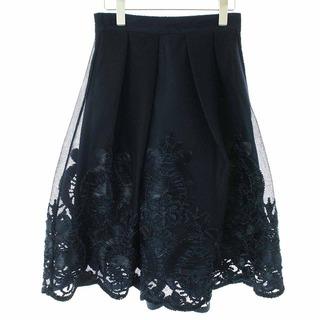 ストロベリーフィールズ(STRAWBERRY-FIELDS)のストロベリーフィールズ フレアスカート ひざ丈 レース 刺繍 38 M 紺(ひざ丈スカート)