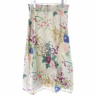 ローラアシュレイ(LAURA ASHLEY)のローラアシュレイ フレアスカート ひざ丈 花柄 L ベージュ 緑(ひざ丈スカート)