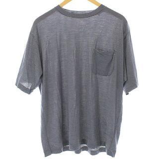 コモリ(COMOLI)のコモリ Tシャツ カットソー 半袖 ボーダー ウール天竺 L 紺(Tシャツ/カットソー(半袖/袖なし))