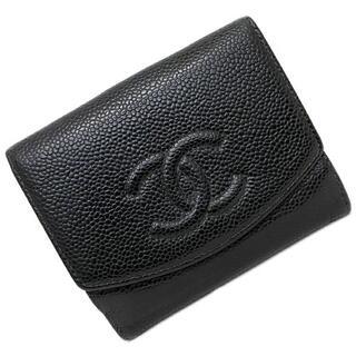 シャネル(CHANEL)のシャネル Wホック 二つ折り 財布 ブラック ミニ(財布)