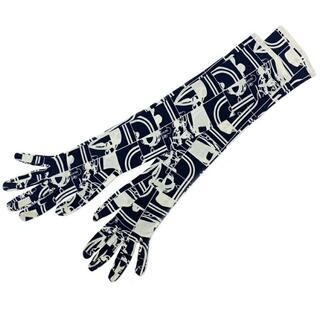 エルメス(Hermes)のエルメス ロング グローブ ネイビー ホワイト En(手袋)