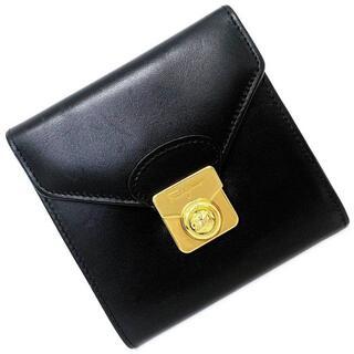 フェラガモ(Ferragamo)のフェラガモ 三つ折り 財布 ブラック ゴールド 美品(財布)