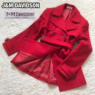 ジェイアンドエムデヴィッドソン(J&M DAVIDSON)の極美品✨J&M DAVIDSON トレンチコート ウール Mサイズ レッド(トレンチコート)