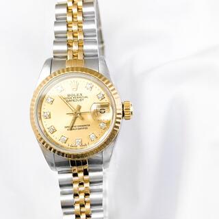 ロレックス(ROLEX)の【OH済】ロレックス 10P ダイヤ シャンパン コンビ レディース 腕時計(腕時計)