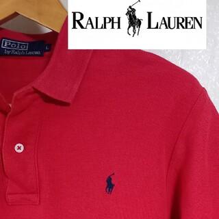"""ラルフローレン(Ralph Lauren)の""""POLOBYRALPHLAUREN""""濃い赤ポロシャツ 90sファッション(ポロシャツ)"""