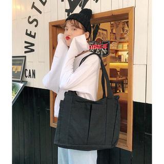 ディーホリック(dholic)の白黒2色展開♡ポケットたくさんキャンバストートバッグ(トートバッグ)