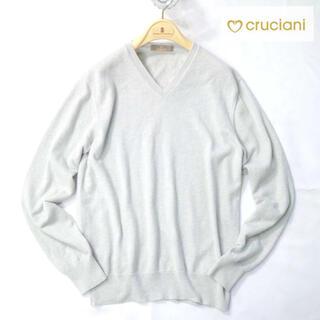 クルチアーニ(Cruciani)のクルチアーニ 9万最高級カシミアライトグレーVネックニット(ニット/セーター)
