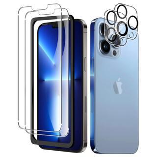 【4枚入り】iPhone13 Pro 用 ガラスフィルム+カメラフィルム