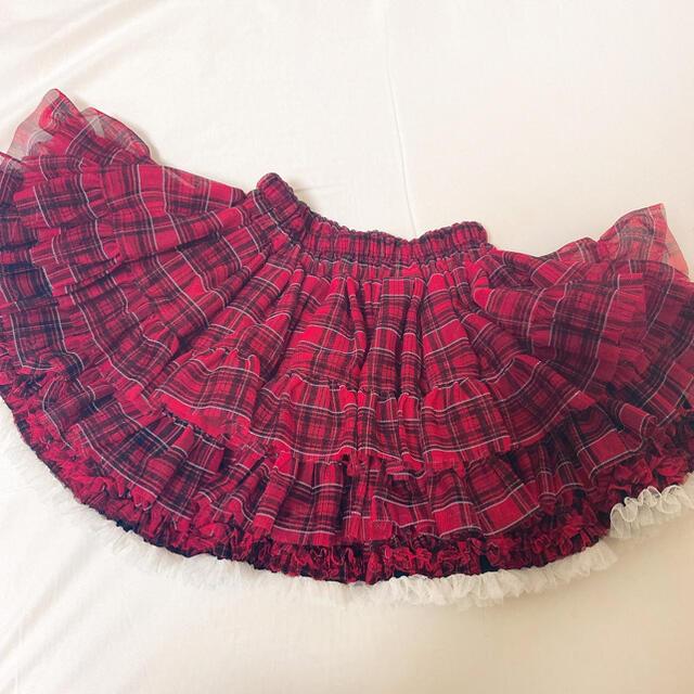 パンパンチュチュ タータンチェック L サイズ 子供 110 120 130 キッズ/ベビー/マタニティのキッズ服女の子用(90cm~)(スカート)の商品写真