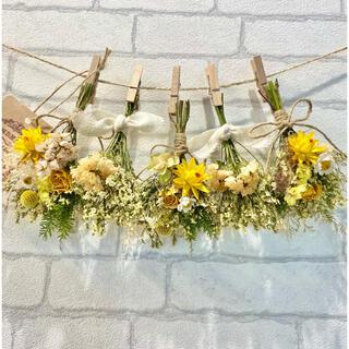 ドライフラワー スワッグ ガーランド❁416 薔薇 スターチス 黄色 白 花束