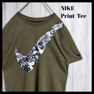 NIKE - 【希少デザイン】NIKE ビッグ スウッシュ ロゴ Tシャツ 半袖 グリーン
