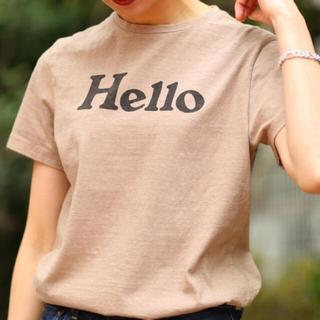 マディソンブルー(MADISONBLUE)の美品 稀少 マディソンブルー  Hello ハロー Tシャツ ベージュ (Tシャツ(半袖/袖なし))