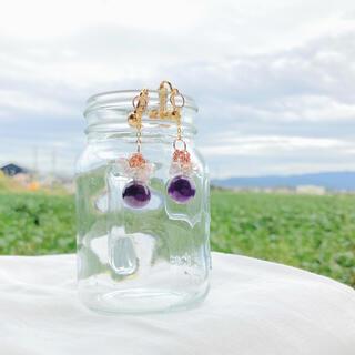 揺れる紫水晶 アメジストのアクセサリー(イヤリング)