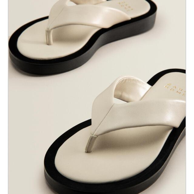 ZARA(ザラ)のZARA HOMEコントラストレザーサンダル レディースの靴/シューズ(サンダル)の商品写真